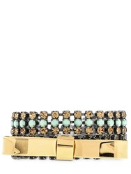Marni Double Bow Bracelet With Crystals Gold Mint