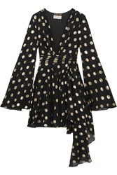 Saint Laurent Asymmetric Polka Dot Fil Coupe Silk Blend Georgette Wrap Mini Dress Black