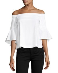 Laundry By Shelli Segal Off The Shoulder Flounce Sleeve Poplin Top White