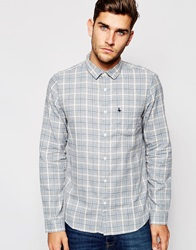 Jack Wills Shirt In Blue Grey Flannel Check Bluegrey