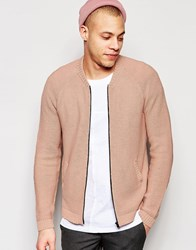 Asos Knitted Bomber In Pink Pink