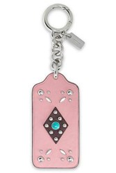 Coach Studded Leather Keychain Baby Pink