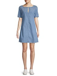 Ag Adriano Goldschmied Front Keyhole Denim Shift Dress Blue