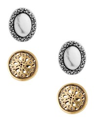 Lucky Brand Openwork And Oval Stud Earrings Set Of 2 Mixed Metal