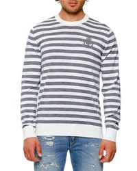 Dolce And Gabbana Striped Virgin Wool Crewneck Sweater Gray White Gray White