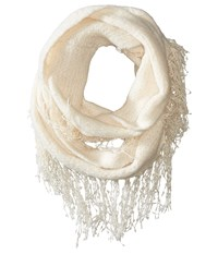 Betsey Johnson Fuzzy Logic Infinity Ivory Scarves White