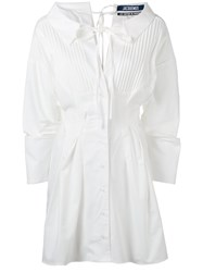 Jacquemus Pleat Front Shirt Dress White