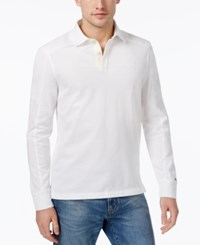 Tommy Hilfiger Men's Heathered Cotton Rugby Shirt Bright White