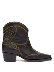 Ganni Texas Leather Ankle Boots Black