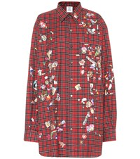 Vetements Printed Checked Cotton Shirt Red