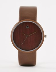 Asos Sleek Watch In Wood Effect Brown