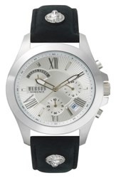 Versus By Versace Lion Chronograph Leather Strap Watch 44Mm Black Silver