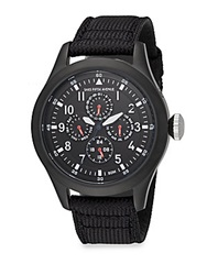 Saks Fifth Avenue Black Ip Stainless Steel And Canvas Strap Chronograph Watch