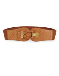 Fashion Focus Basket Weave Stretch Belt Tan