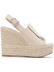 Sergio Rossi Slingback Platform Wedge Sandals Nude And Neutrals