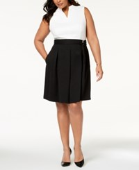 Ellen Tracy Plus Size Belted Colorblocked Dress Ivory Black