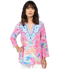 Lilly Pulitzer Renato Tunic Multi Palm Beach Coral Women's Blouse