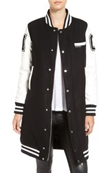 Members Only Women's Long Varsity Bomber Jacket