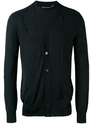 Alexander Mcqueen Distressed V Neck Cardigan Men Silk Wool Xl Black