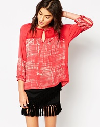 Gypsy 05 Silk Mix 3 4 Sleeve Blouse With Brushstroke Print Red
