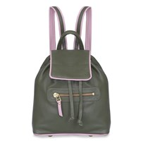 Rose Hovord Bertie Backpack In Olive And Baby Pink Trim Green