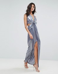 Asos Metallic Cami Twist Front Maxi Dress Multi