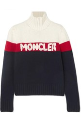 Moncler Wool And Cashmere Blend Jacquard Turtleneck Sweater Navy
