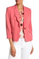 Kasper Scalloped Edges One Button Jacket Red