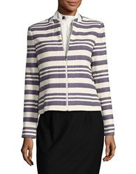 Tommy Hilfiger Striped Zip Front Jacket Grey