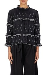 Etoile Isabel Marant Women's Daniela Embroidered Linen Peasant Top Black