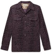 Wacko Maria Camp Collar Printed Cotton Corduroy Shirt Purple