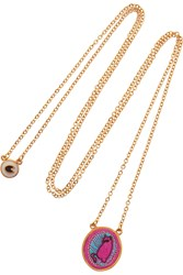 Marc By Marc Jacobs Rue Resin Embroidered Felt And Gold Tone Necklace Purple