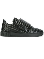 Versace Quilted Greek Key Sneakers Black
