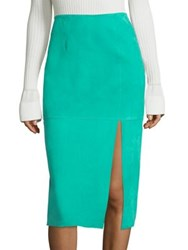 Diane Von Furstenberg Side Slit Lamb Suede Pencil Skirt Jade