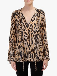 Lily And Lionel Amber Animal Print Top Caramel