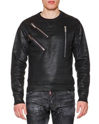 Dsquared Faux Leather Sweatshirt With Zip Detail Black