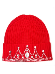 Markus Lupfer Embellished Ribbed Beanie Red