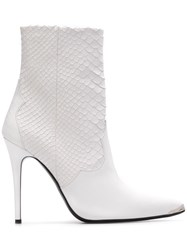 Amiri Pointed Toe Ankle Boots White