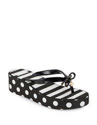 Kate Spade Rhett Striped And Polka Flip Flops Black White