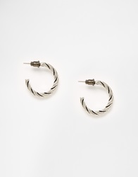 Designsix Twisted Hoop Earrings Silver