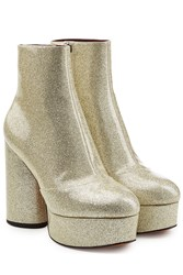Marc Jacobs Leather Platform Ankle Boots With Glitter Multicolor