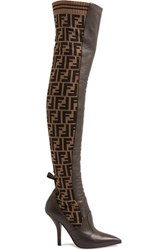 Fendi Rockoko Logo Jacquard Stretch Knit And Leather Over The Knee Boots Brown