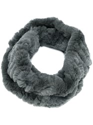 Yves Salomon Circle Scarf Grey
