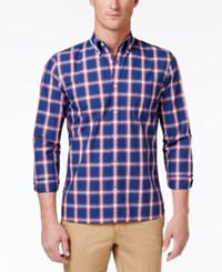 Brooks Brothers Red Fleece Men's Grid Pattern Cotton Shirt Op Blue