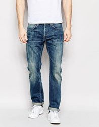 Edwin Jeans Ed 55 Selvedge Relaxed Tapered White Listed Mid Sifted Used Mid Sifted Used Blue