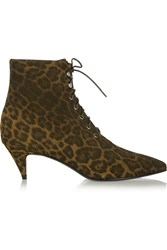 Saint Laurent Leopard Print Brushed Suede Ankle Boots Animal Print