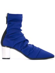 Emilio Pucci Ruched Boots Women Leather Neoprene 38 Blue