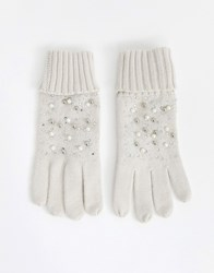 Oasis Knitted Gloves With Faux Pearl Detail In Cream Black