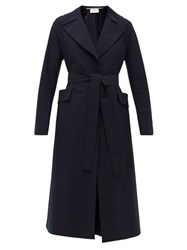 Harris Wharf London Single Breasted Belted Shell Coat Navy