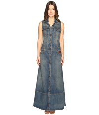 Just Cavalli Sleeveless Button Front Denim Maxi Dress Denim Women's Dress Blue